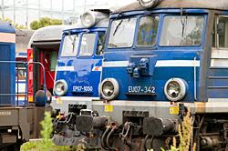 Züge auf einem Bahnhof in Polen
