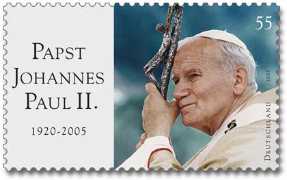 Briefmarke Papst Johannes Paul II., herausgegeben von der Deutschen Post