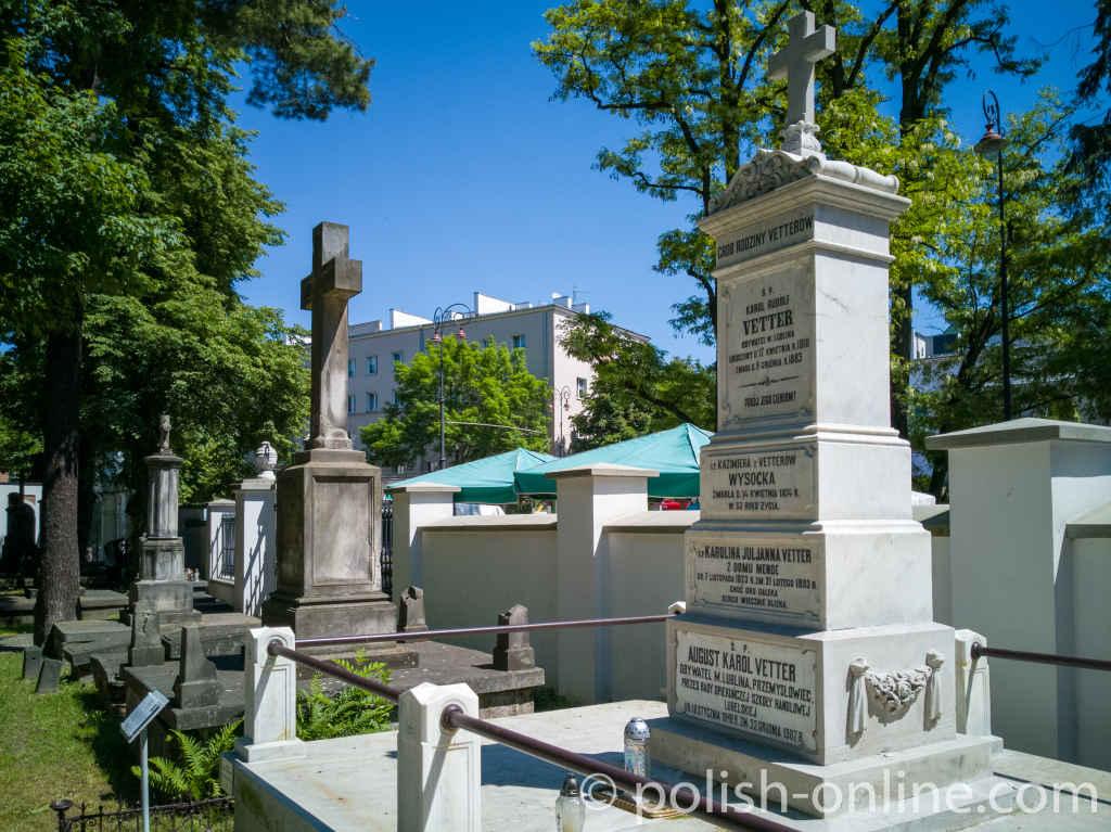 Grabstein der Familie Vetter auf dem evangelischen Friedhof in Lublin