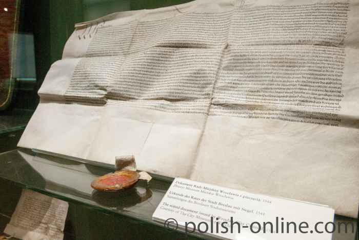 Breslauer Urkunde von 1544 mit Siegel