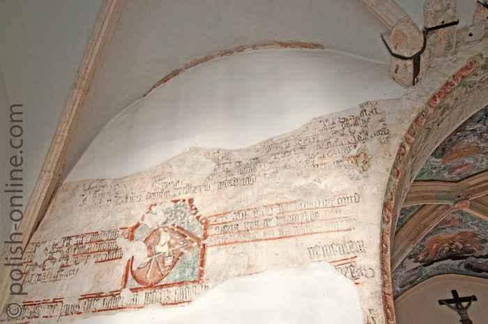 Freigelegte Wandmalerei im Kloster Tyniec