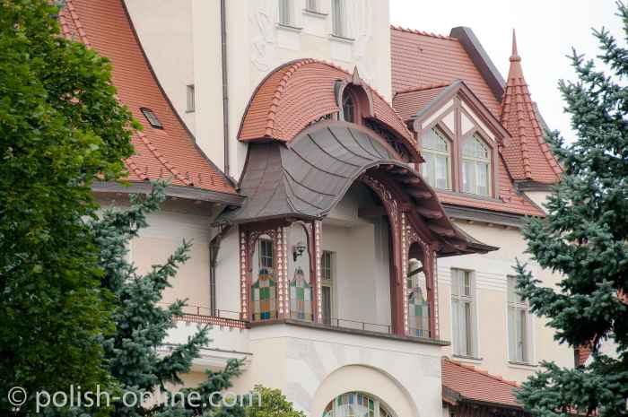 Balkon eines Jugendstil-Palais in Allenstein
