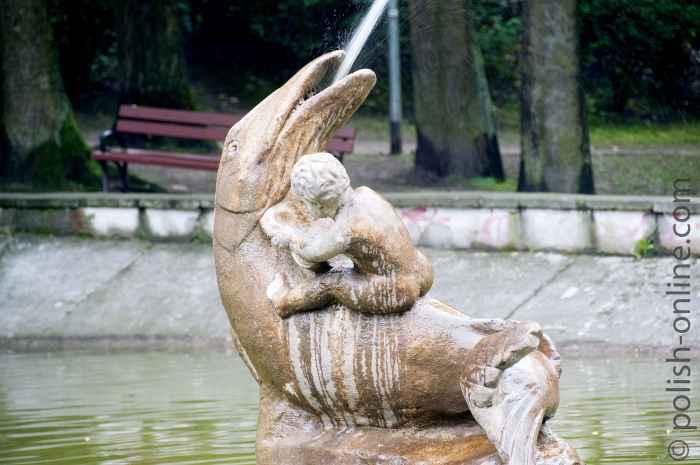 Springbrunnen im Park an der Burg