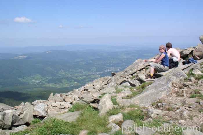 Blick ins Tal vom Gipfel Babia Góra