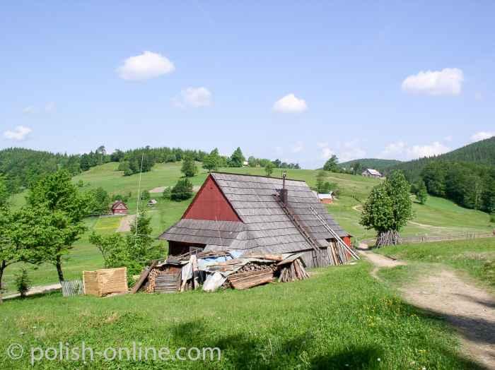 Kleine Beskiden und traditionelle Bauernhäuser