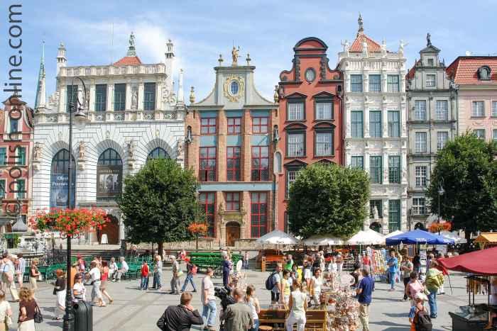 Häuserfassaden am Langen Markt in Danzig (Gdansk)