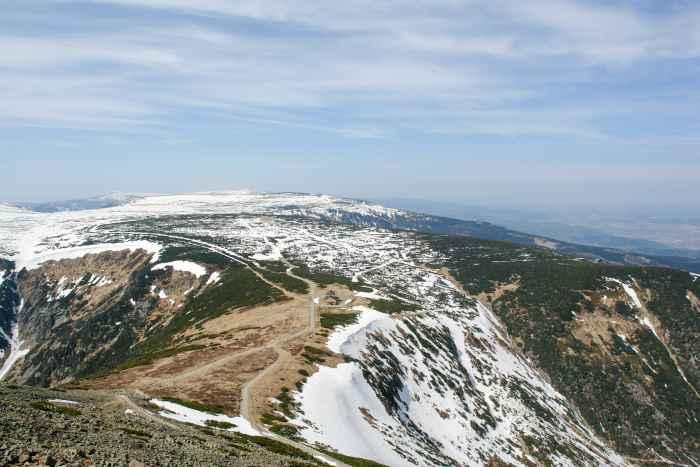 Blick von der Schneekoppe im Riesengebirge