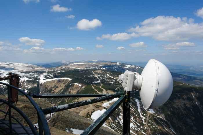 Blick von der Wetterstation auf der Schneekoppe