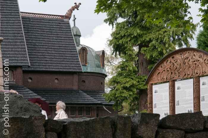 Dach der Kirche Wang in Krummhübel (Karpacz)