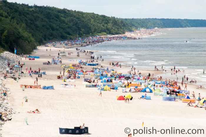Strandvergnügen in Hoff (Trzęsacz)