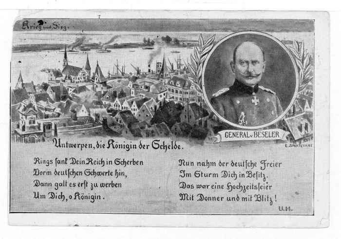 Kriegspostkarte mit dem Konderfei von General von Beseler
