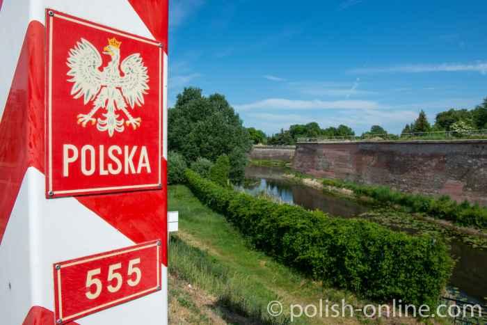 Einreise nach Polen - Polnischer Grenzpfosten bei Küstrin an der Oder