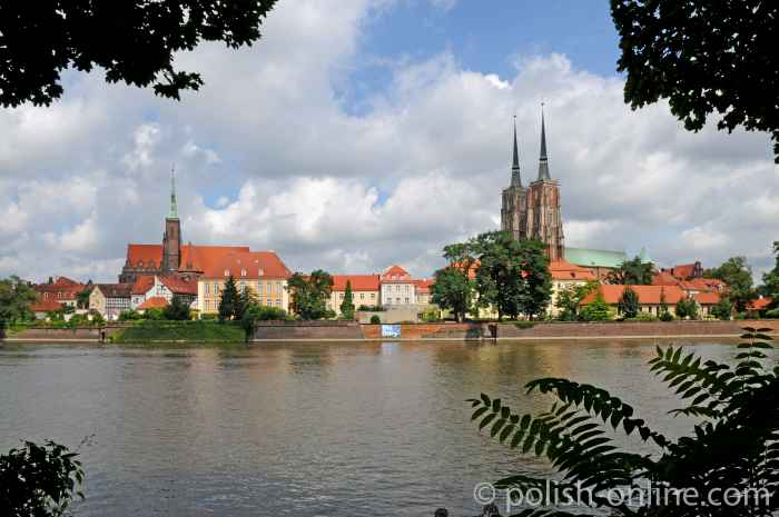 Blick auf die Dominsel in Breslau (Wrocław)