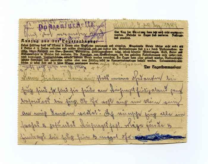 Brief eines Gefangenen im KZ Stutthof