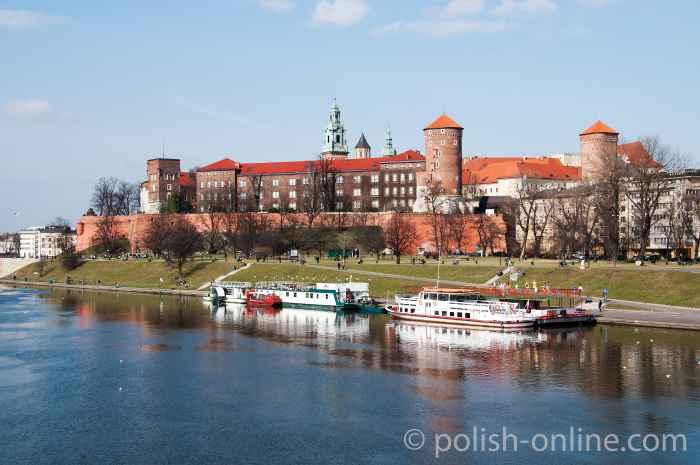 Wawelburg an der Weichsel in Krakau