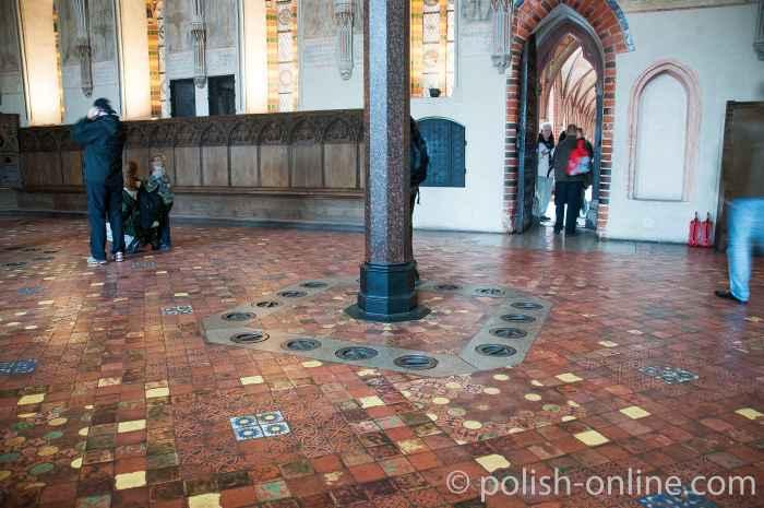 Foto von Öffnungen der Fußbodenheizung in der Marienburg (Polen)