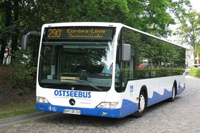 Bus der Europa-Linie auf Usedom