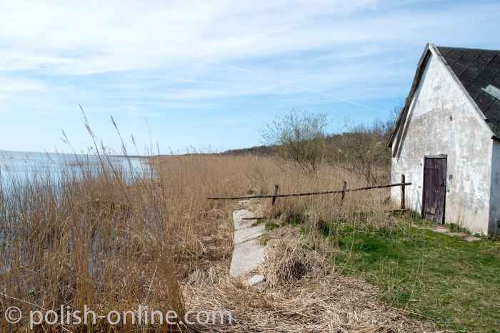 Fischerhütte am Ufer des Leba-See (Jezioro-Łebsko) beim Leba