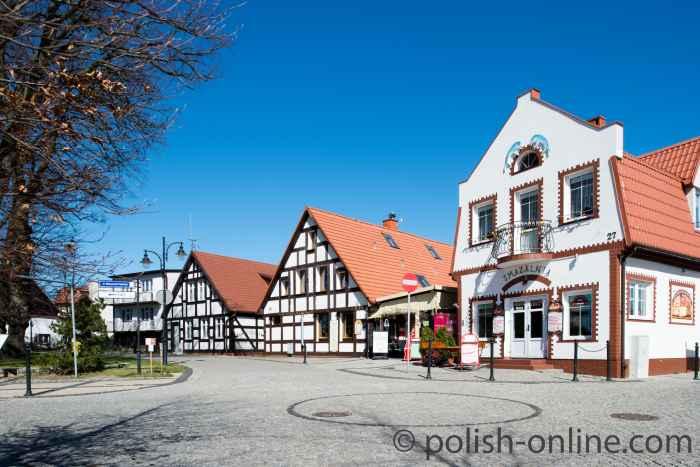 Fachwerkhäuser im Zentrum von Stolpmünde (Ustka)