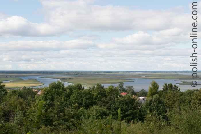 """Blick vom Aussichtspunkt """"Wzgórza Zielonka"""" auf das Swinedelta"""