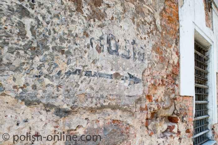Deutsche Inschrift am Rathaus von Brieg (Brzeg)