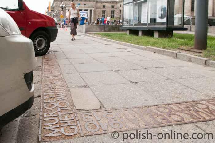 Markierung Ghettomauer in Warschau (Warszawa)