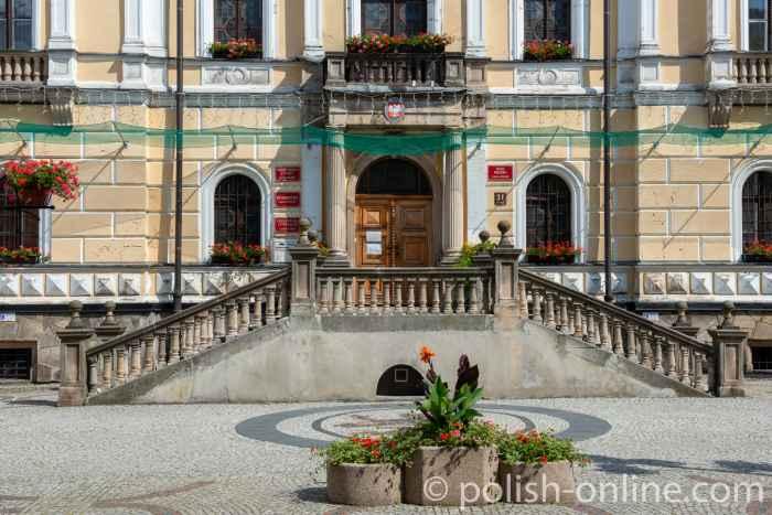 Portal des Rathauses von Bad Landeck (Lądek Zdrój)