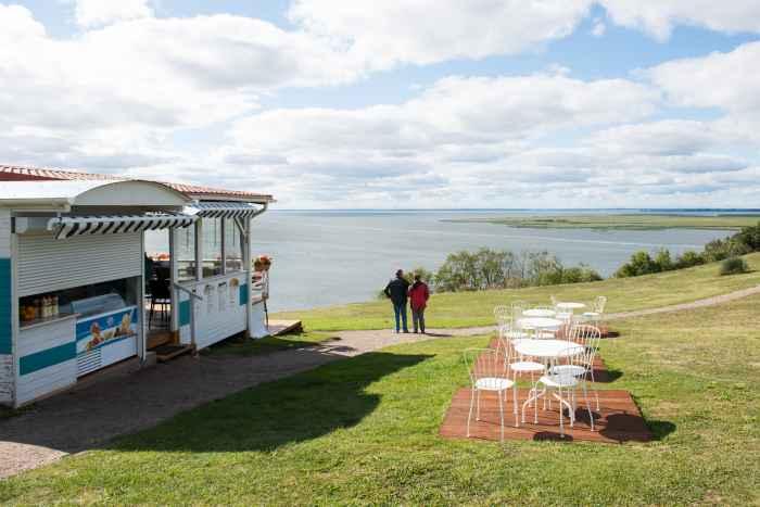 Aussichtspunkt mit Café am Swinedelta in Lubin auf Wollin