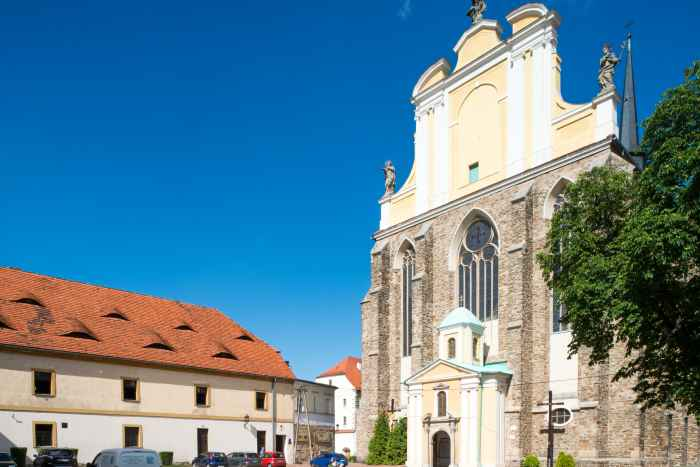 Hauptportal Klosterkirche Mariä Himmelfahrt in Kamenz (Kamieniec Ząbkowicki)