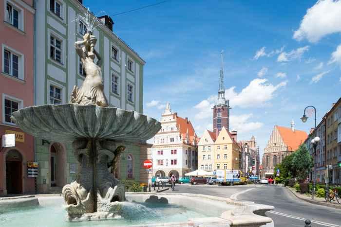 Der barocke Tritonbrunnen in Neisse (Nyssa)