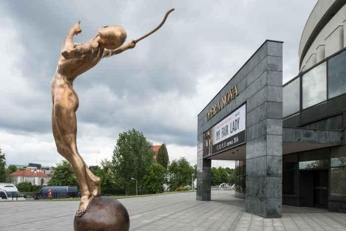 Skulptur einer Bogenschützin in Bromberg (Bydgoszcz)