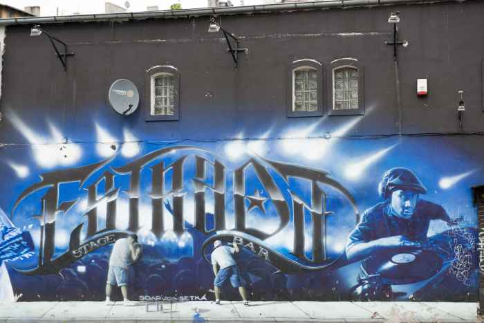Graffiti an einer Hauswand in Bromberg (Bydgoszcz)