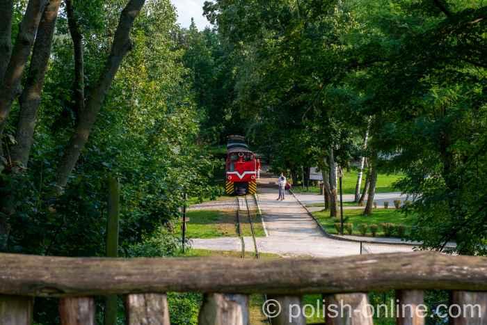 Schmalspurbahn hält am Bahnhof des Freilichtmuseums Biskupin