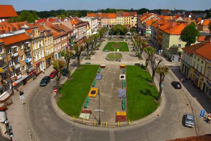 Marktplatz von Bartenstein (Bartoszyce) in Ermland-Masuren