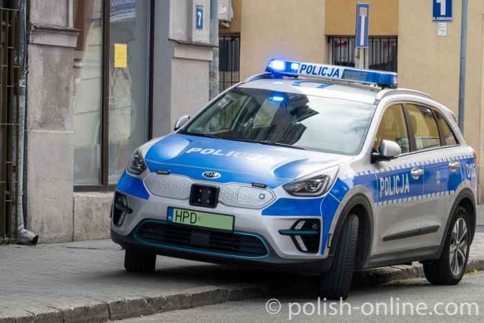 E-Auto der Polizei in der Lubliner Innenstadt