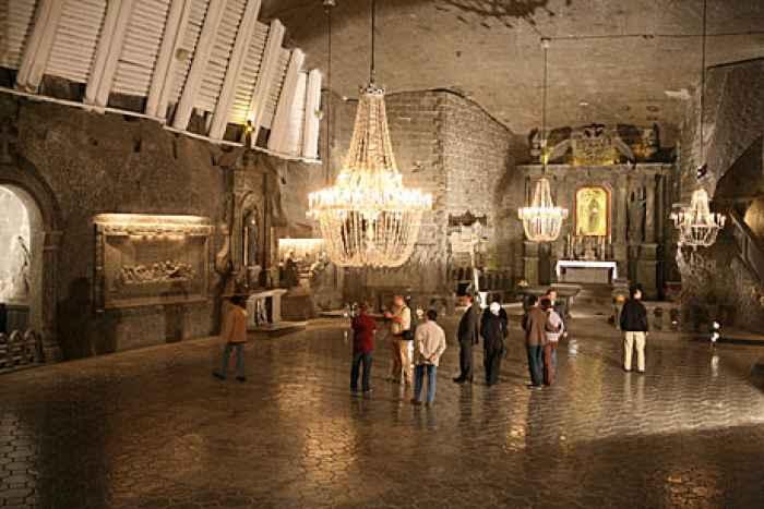 Kapelle der Heiligen Kunigunde im Salzbergwerk Wieliczka in Polen.