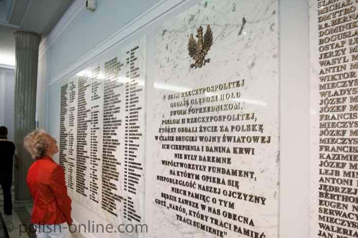Gedenktafel im Sejm in Warschau