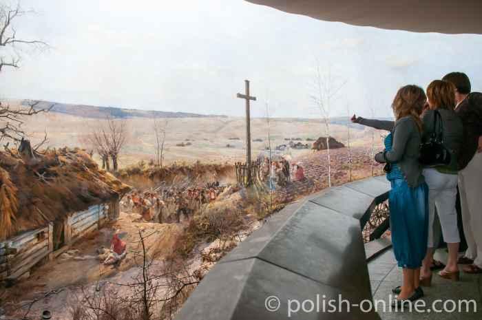 Touristen vor dem Panorama von Racławice