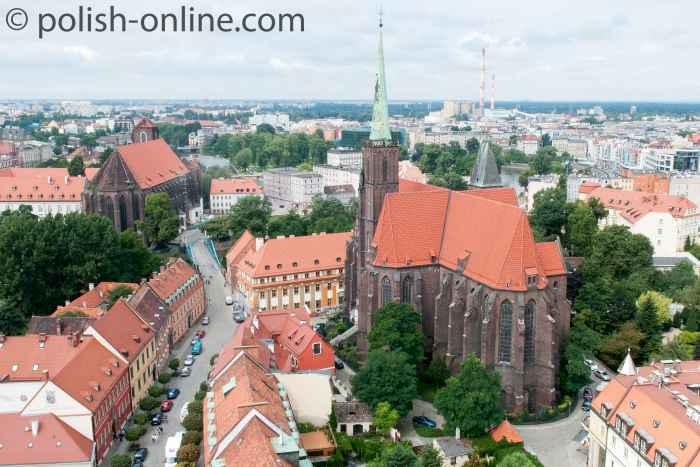 Blick auf die Heiligkreuzkirche in Breslau (Wrocław)