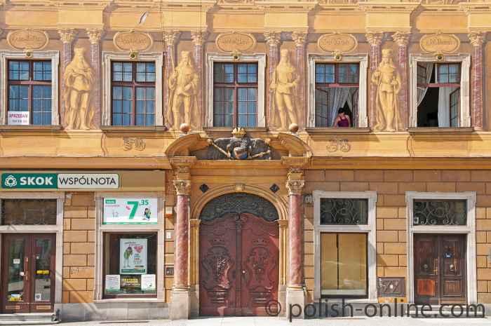 Fassade des Hauses Zu den sieben Kurfürsten in Breslau (Wrocław)