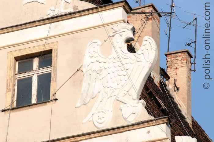 Giebeldetail am Haus unter den Greifen in Breslau