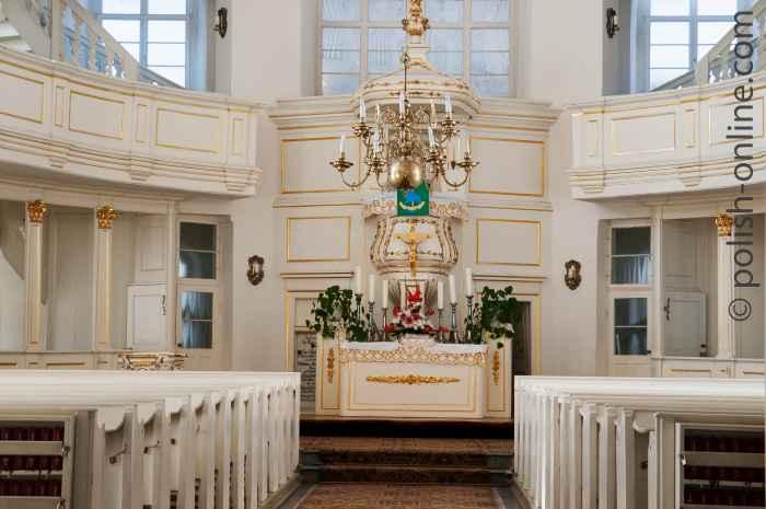 Innenraum der evangelischen Kirche der Göttlichen Vorsehung (Kościół Opatrzności Bożej)
