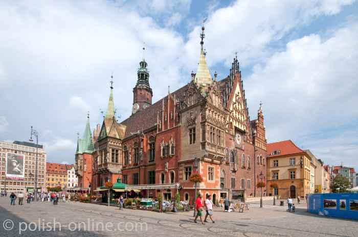 Die Fassades Rathauses von Breslau (Wrocław)