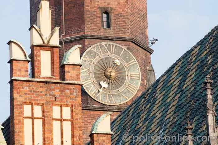 Uhr am Rathausturm von Breslau (Wrocław)