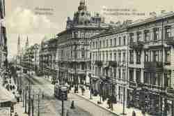Ansichtskarte aus dem I. Weltkrieg mit einer Fotografie der ul. Marszałkowska in Warschau