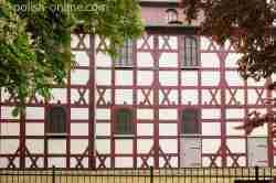 Fachwerkfassade der Friedenskirche in Jawor in Niederschlesien