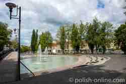 Wasserspiele auf dem Goldaper Markt in Masuren