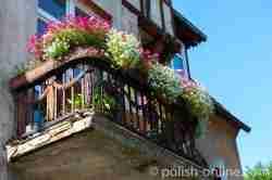 Balkon eines Jugendstilhauses in Wormditt (Orneta) im Ermland