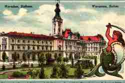 Ansichtskarte aus dem I. Weltkrieg mit einer Abbildung des Alten Warschauer Rathauses.