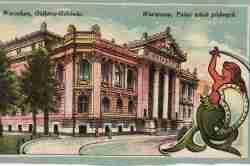 Ansichtskarte mit dem Palac Sztuk Pięknych als Motiv.